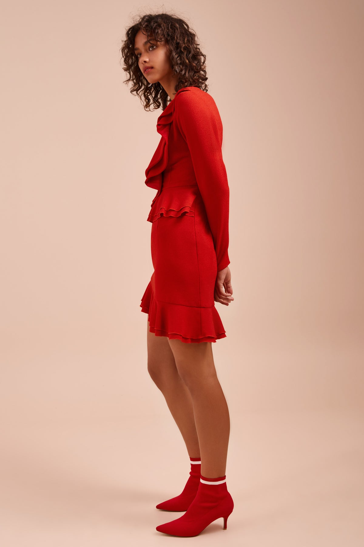 ENTICE LONG SLEEVE DRESS red