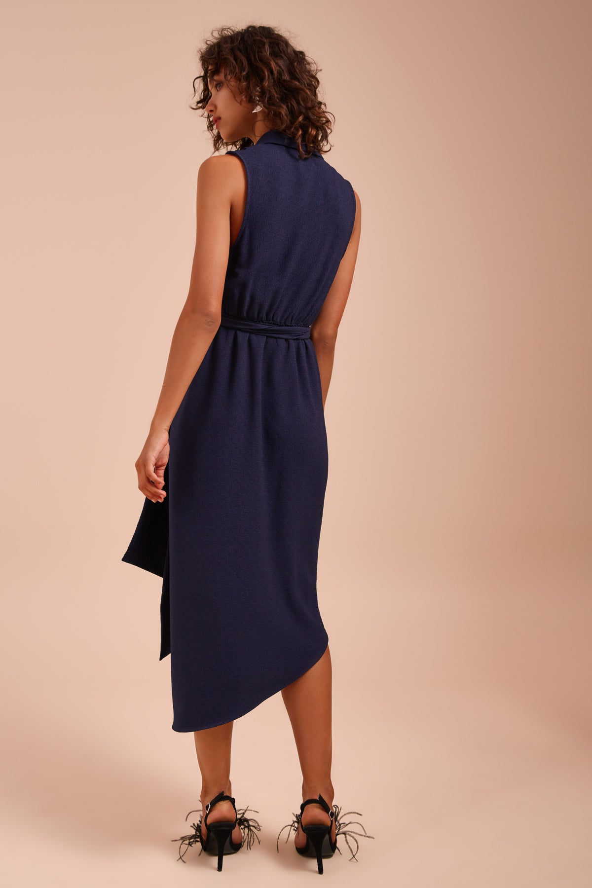 ENTICE SHORT SLEEVE MIDI DRESS navy