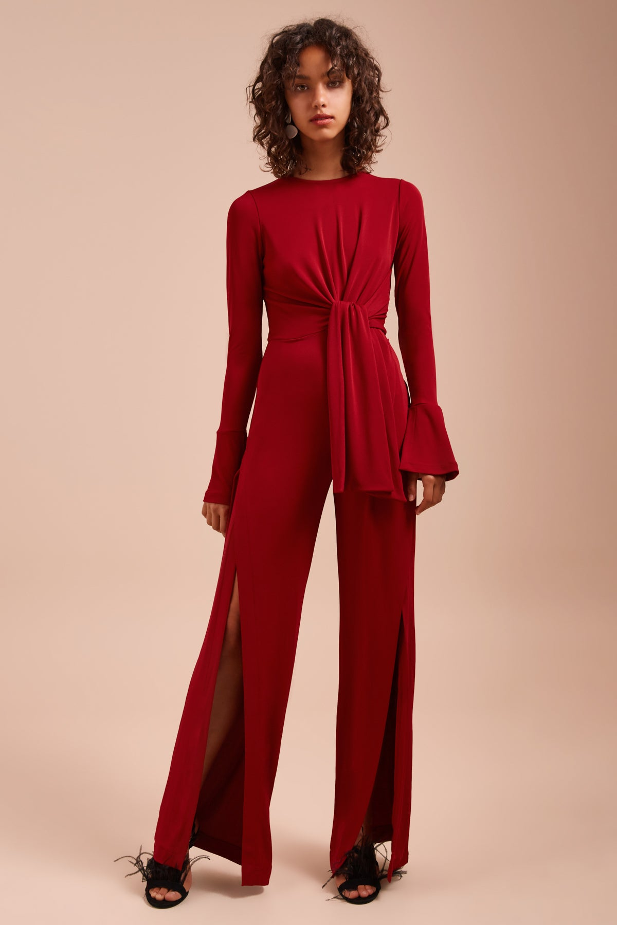 RECOLLECT LONG SLEEVE JUMPSUIT berry