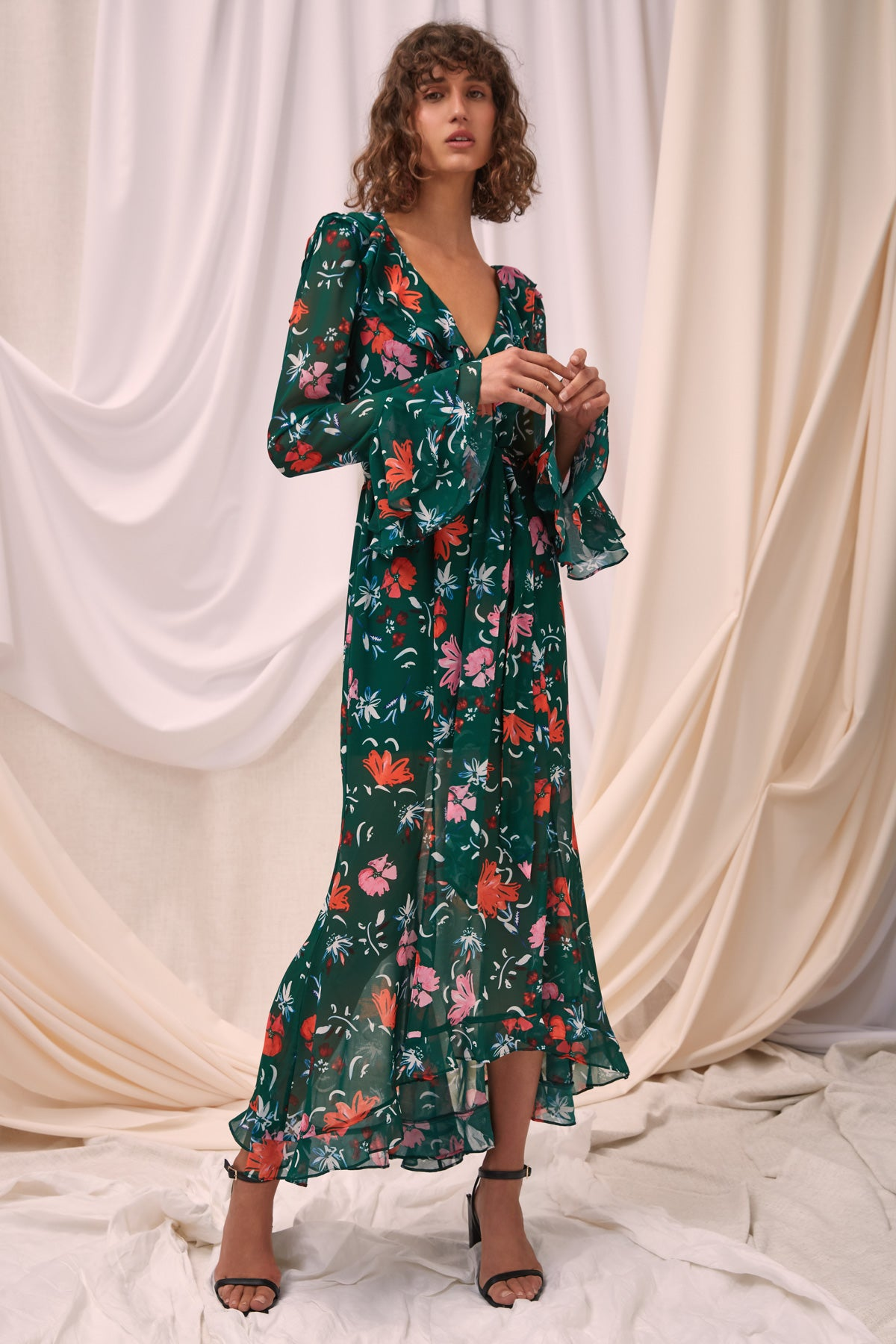ELUDE LONG SLEEVE MIDI DRESS emerald floral
