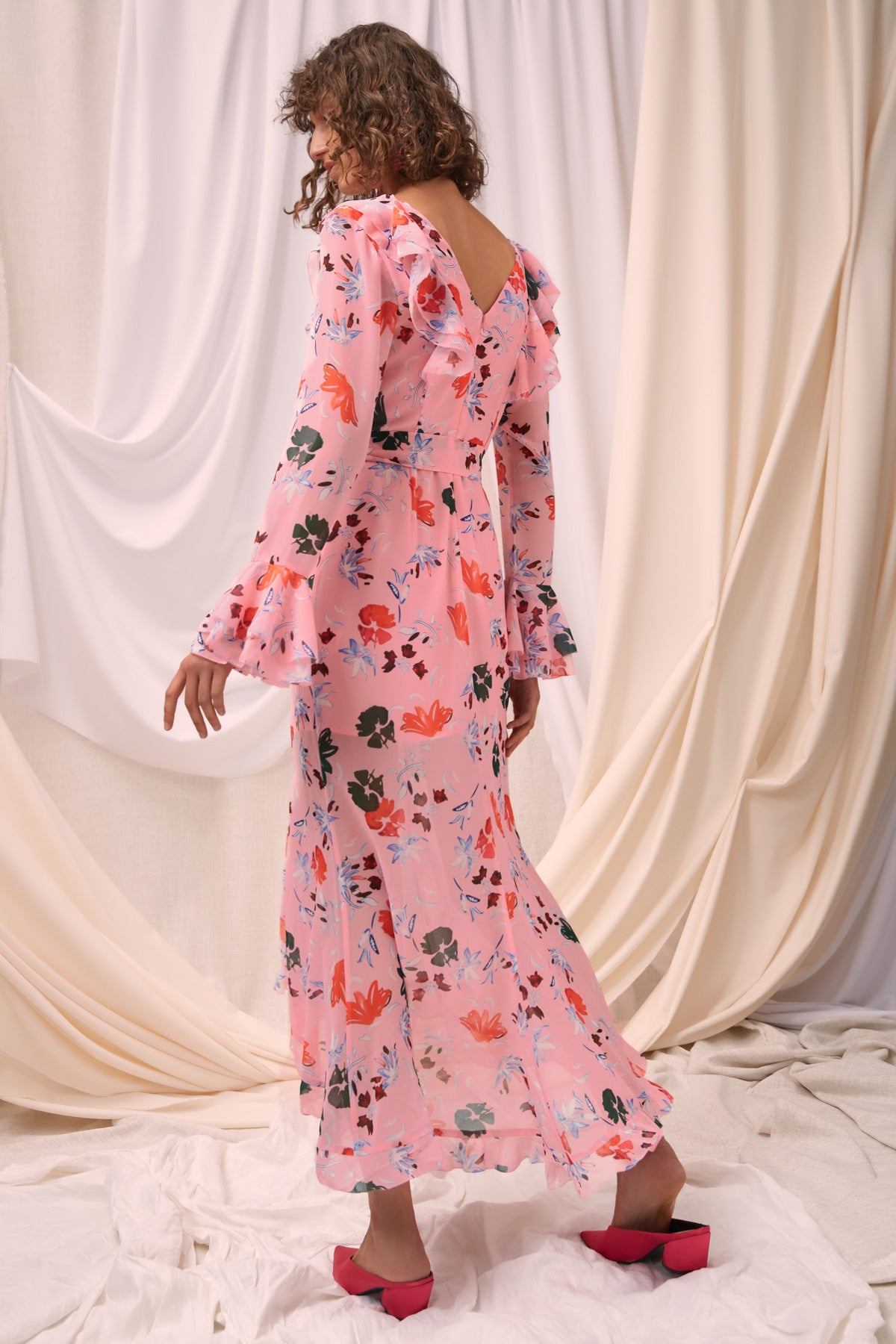 ELUDE LONG SLEEVE MIDI DRESS pink floral
