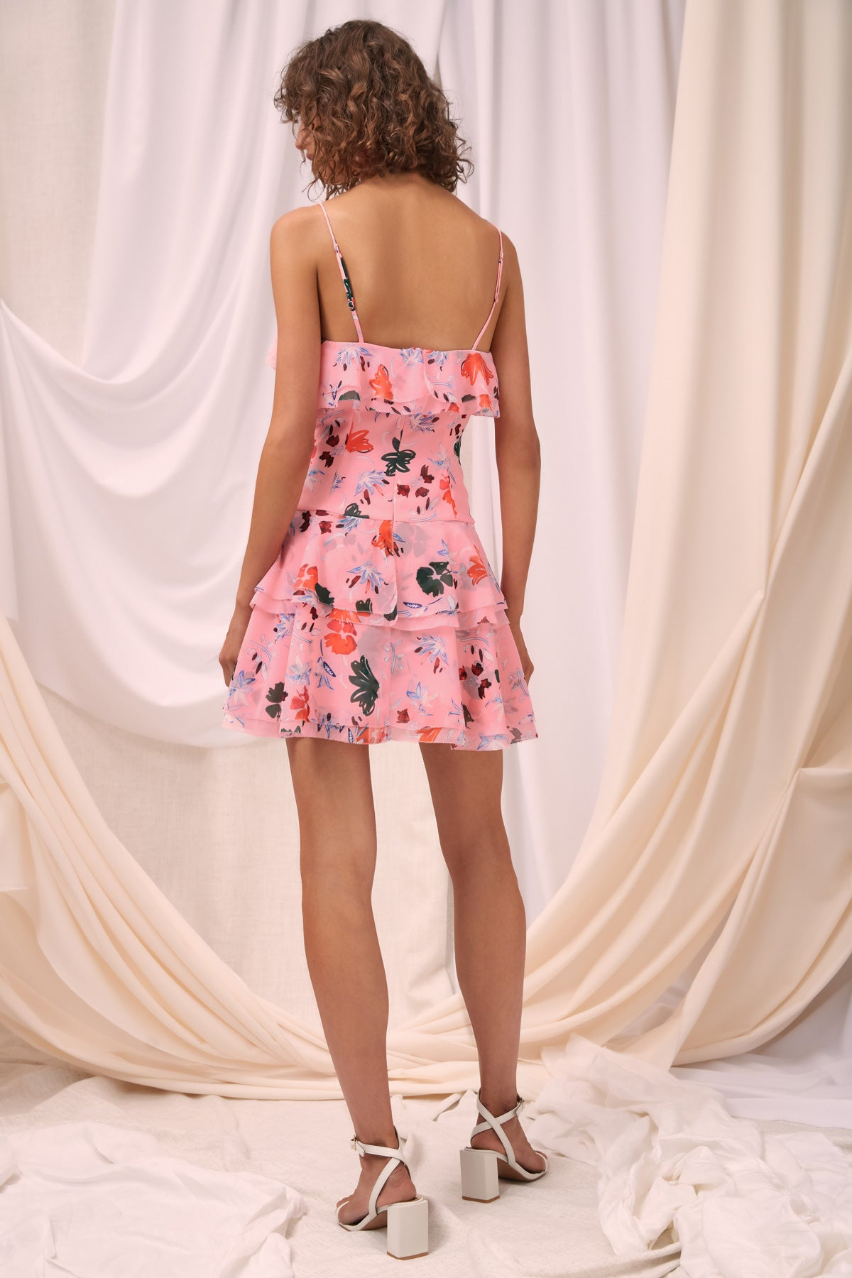 ELUDE SHORT SLEEVE MINI DRESS pink floral