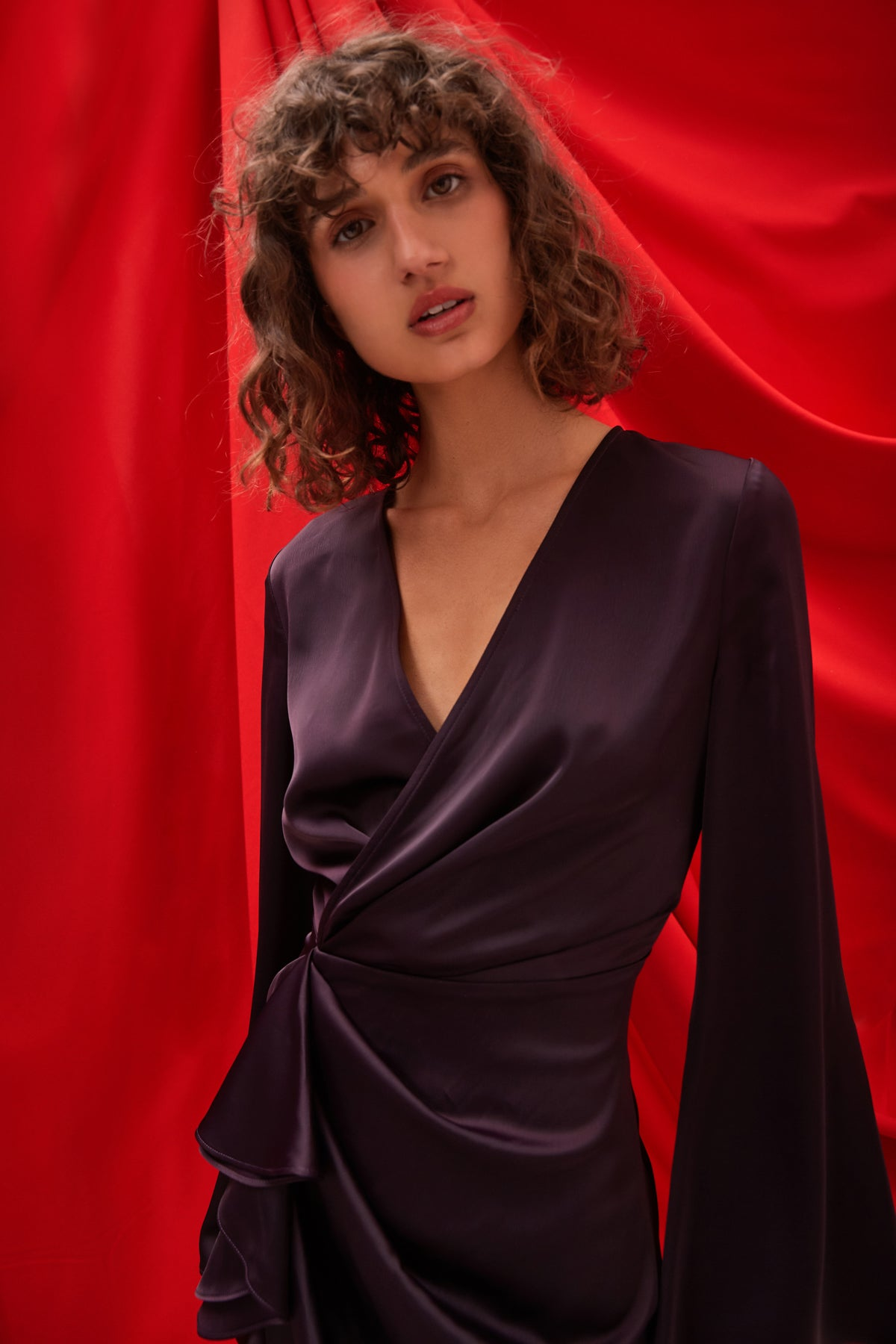 NO LESS LONG SLEEVE DRESS aubergine