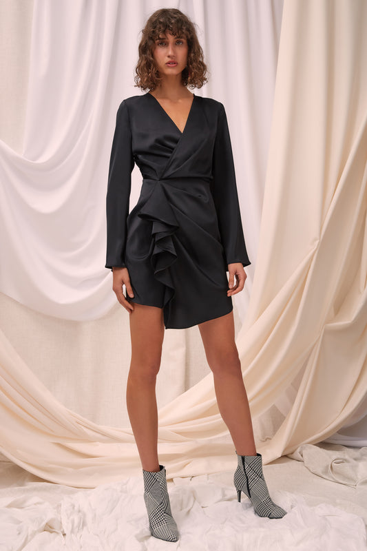 NO LESS LONG SLEEVE DRESS black