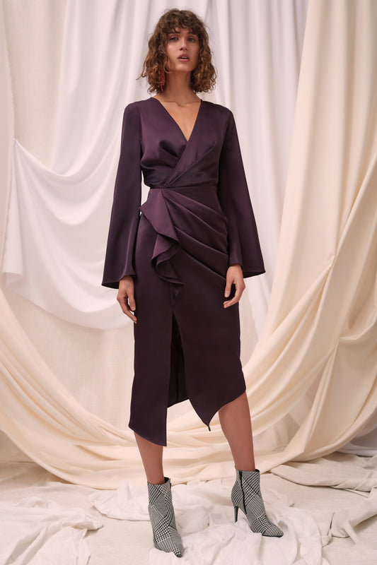 NO LESS LONG SLEEVE MIDI DRESS aubergine