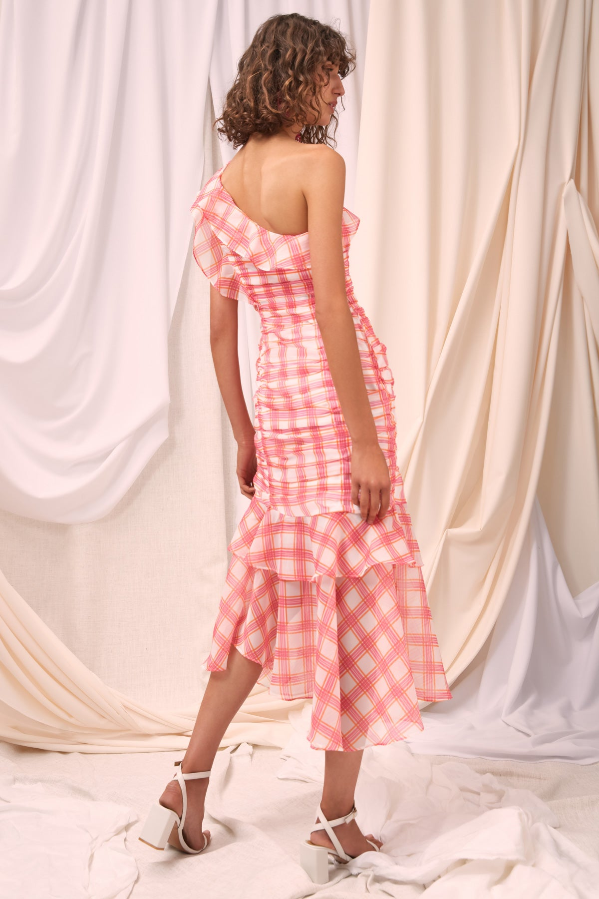 SOLACE MIDI DRESS ivory check