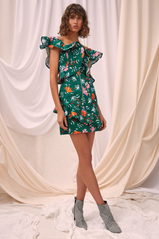 ELATION DRESS emerald floral