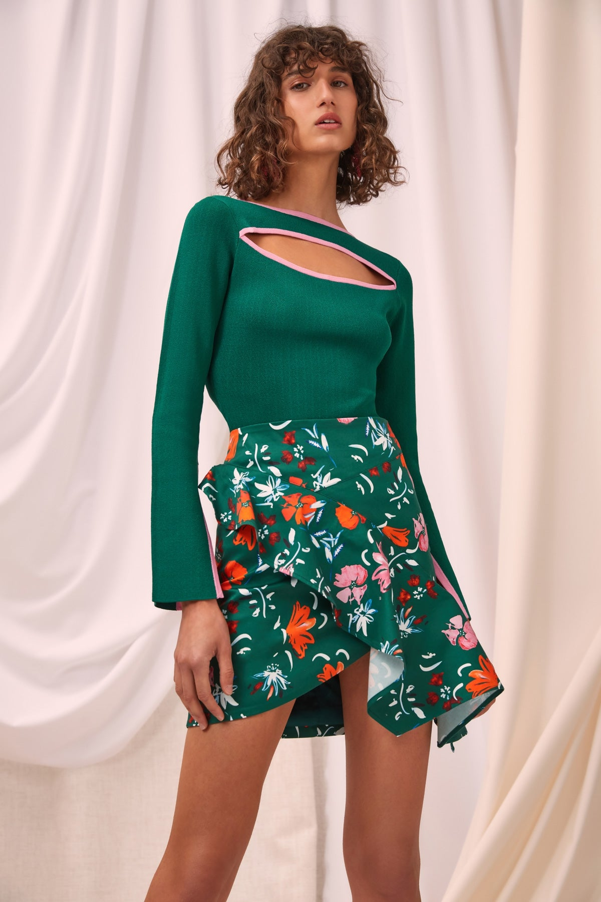 ELATION SKIRT emerald floral