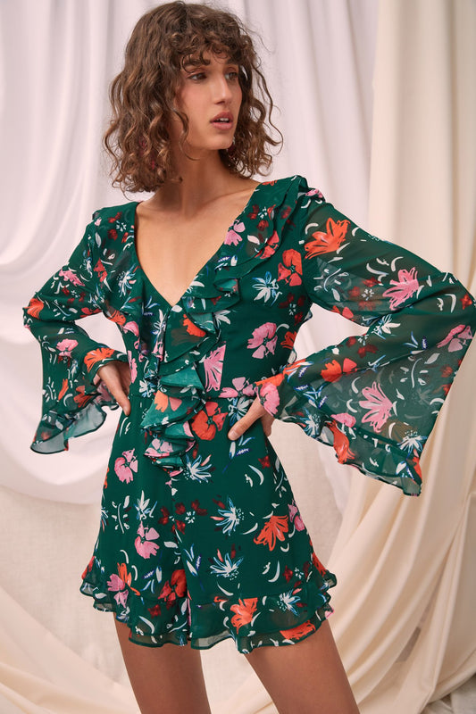 ELUDE LONG SLEEVE PLAYSUIT emerald floral
