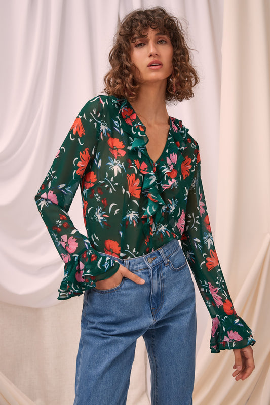ELUDE LONG SLEEVE TOP emerald floral
