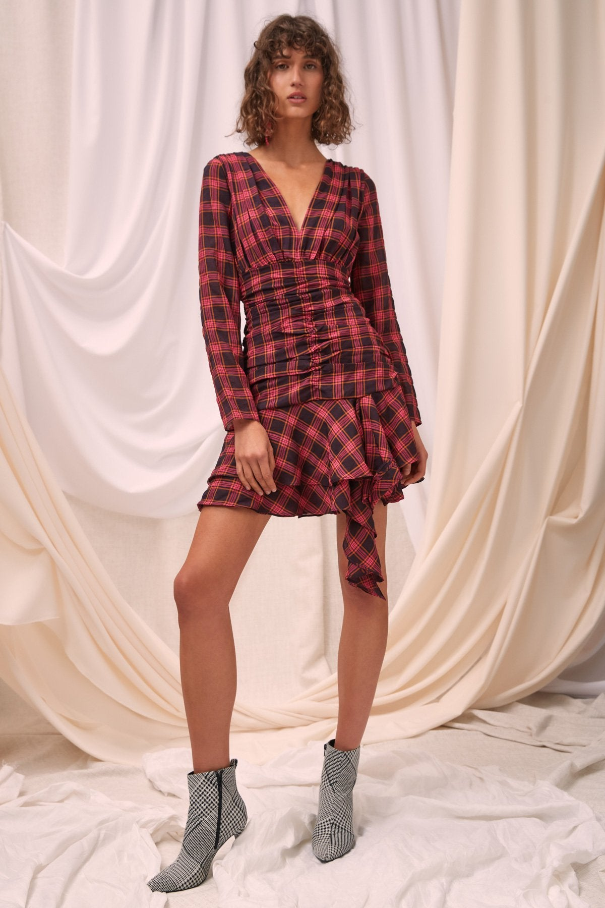 SOLACE LONG SLEEVE DRESS aubergine check