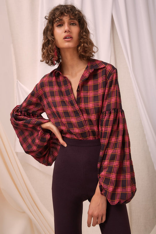 SOLACE LONG SLEEVE TOP aubergine check