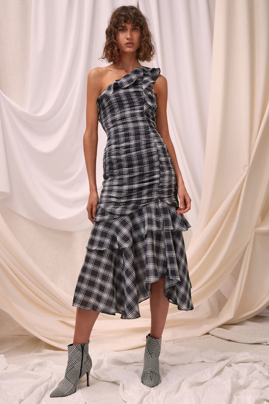 SOLACE MIDI DRESS black check