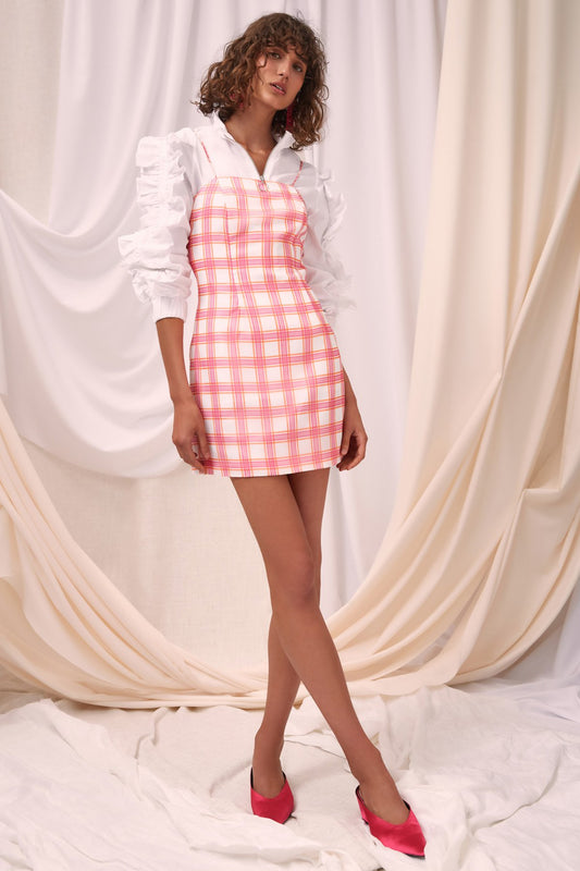 SOLACE SHORT SLEEVE MINI DRESS ivory check