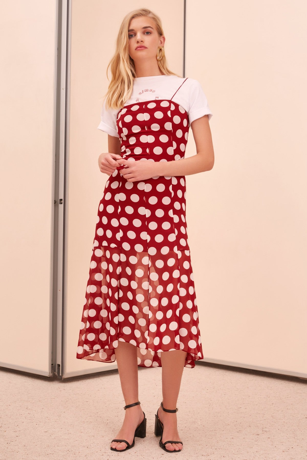 UNENDING SHORT SLEEVE MIDI DRESS ruby spot