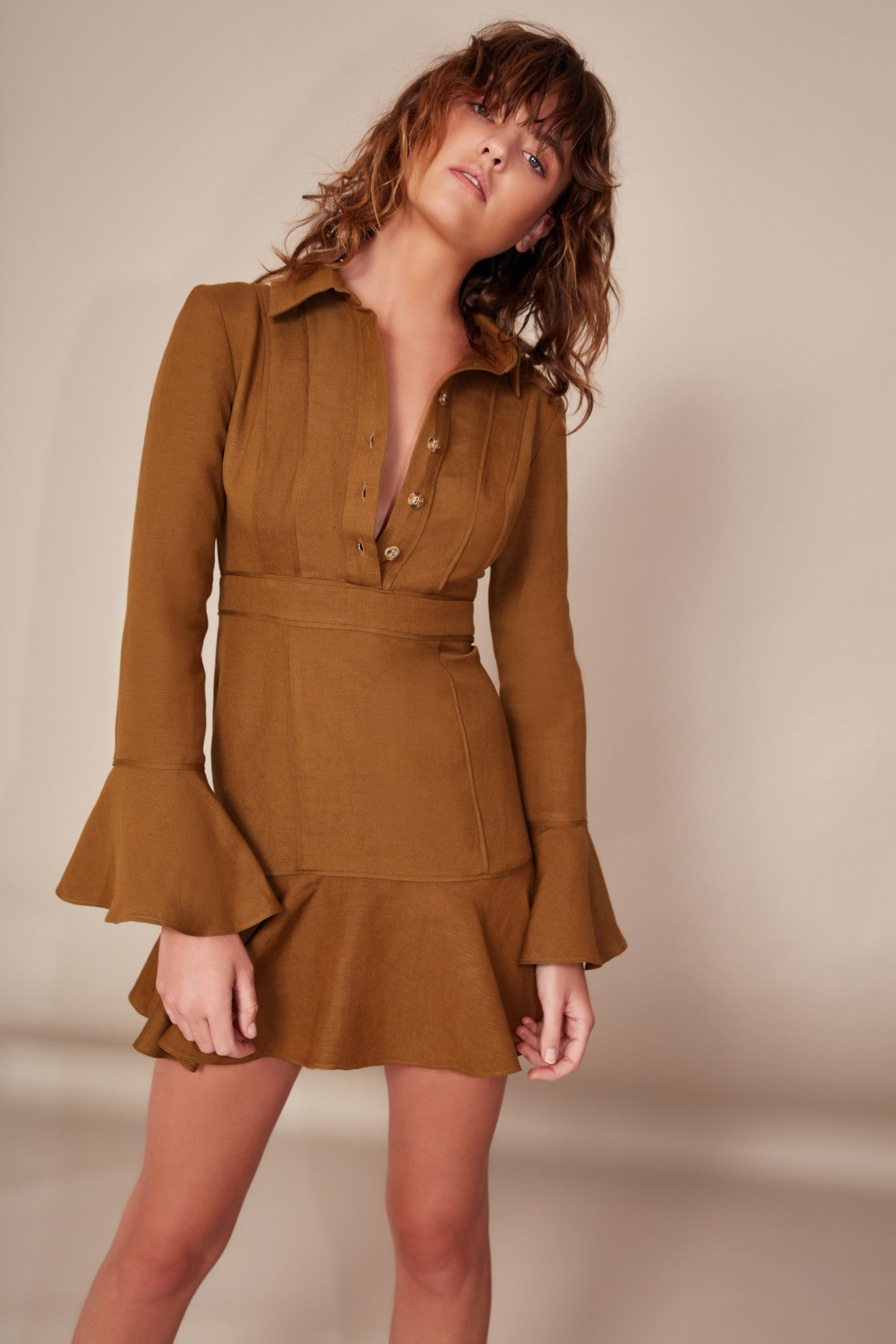 ACTUATE LONG SLEEVE DRESS taupe