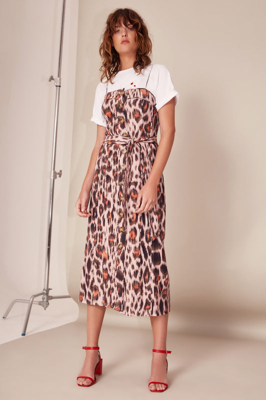 ACTUATE SHORT SLEEVE DRESS nude leopard
