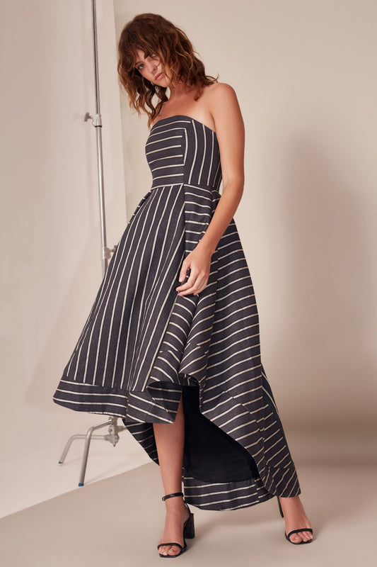 MOMENTS APART GOWN navy stripe