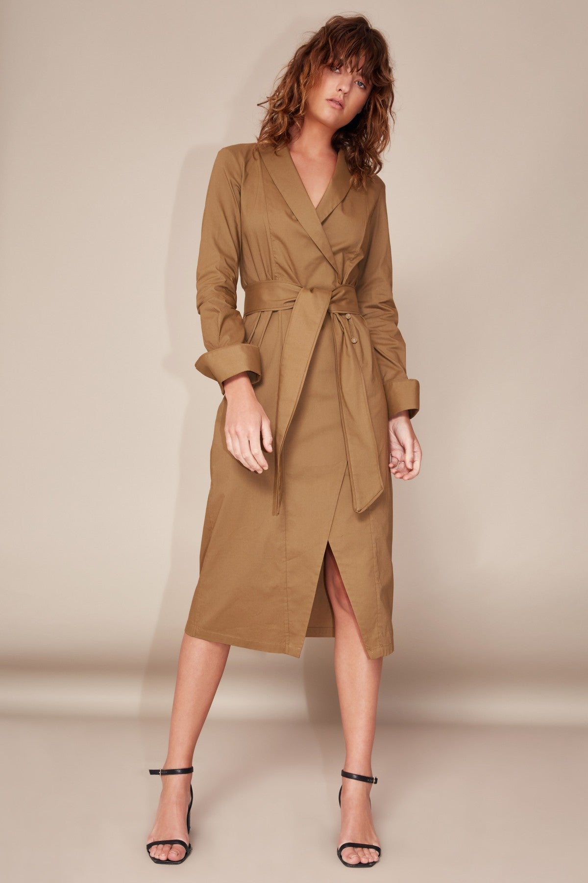 YOUR TYPE SHIRT DRESS taupe