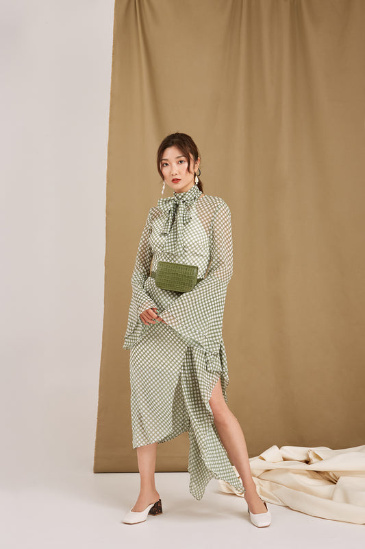 NIGHTFALL DRESS khaki check