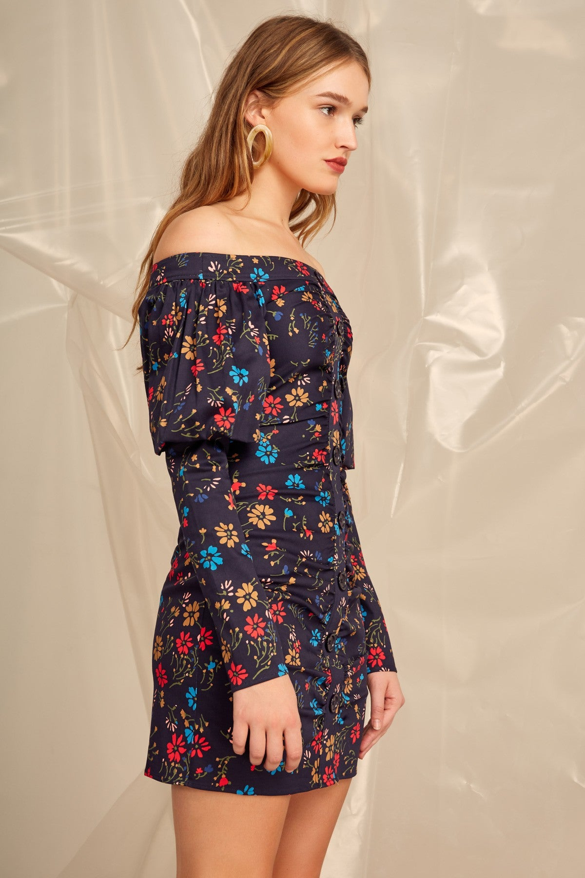 ACCOLADE LONG SLEEVE DRESS navy floral