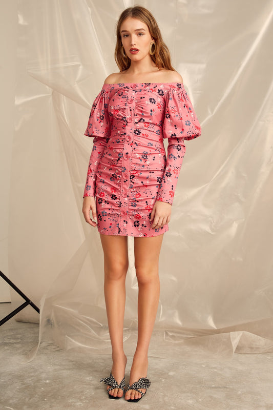 ACCOLADE LONG SLEEVE DRESS pink floral