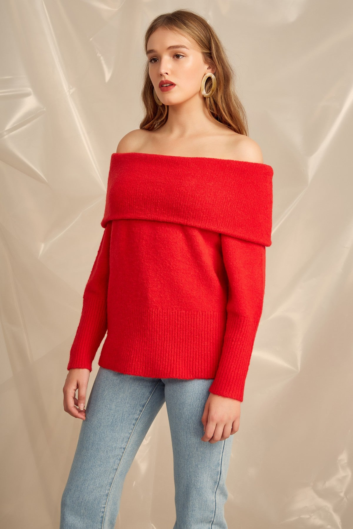 DISTANCES KNIT JUMPER cherry