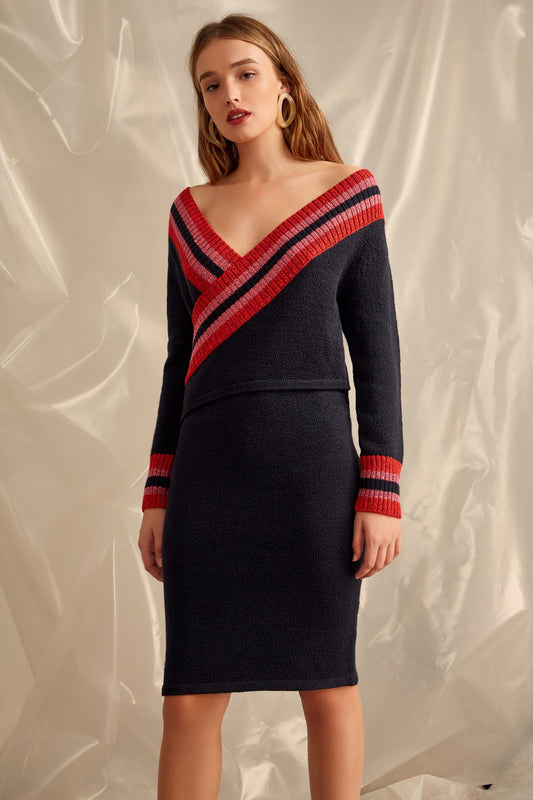 SCULPT KNIT DRESS navy