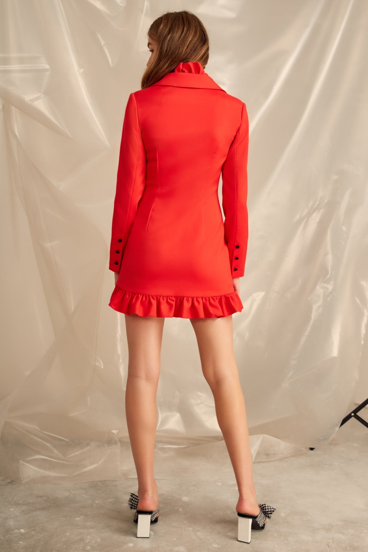YOU OR ME LONG SLEEVE DRESS cherry