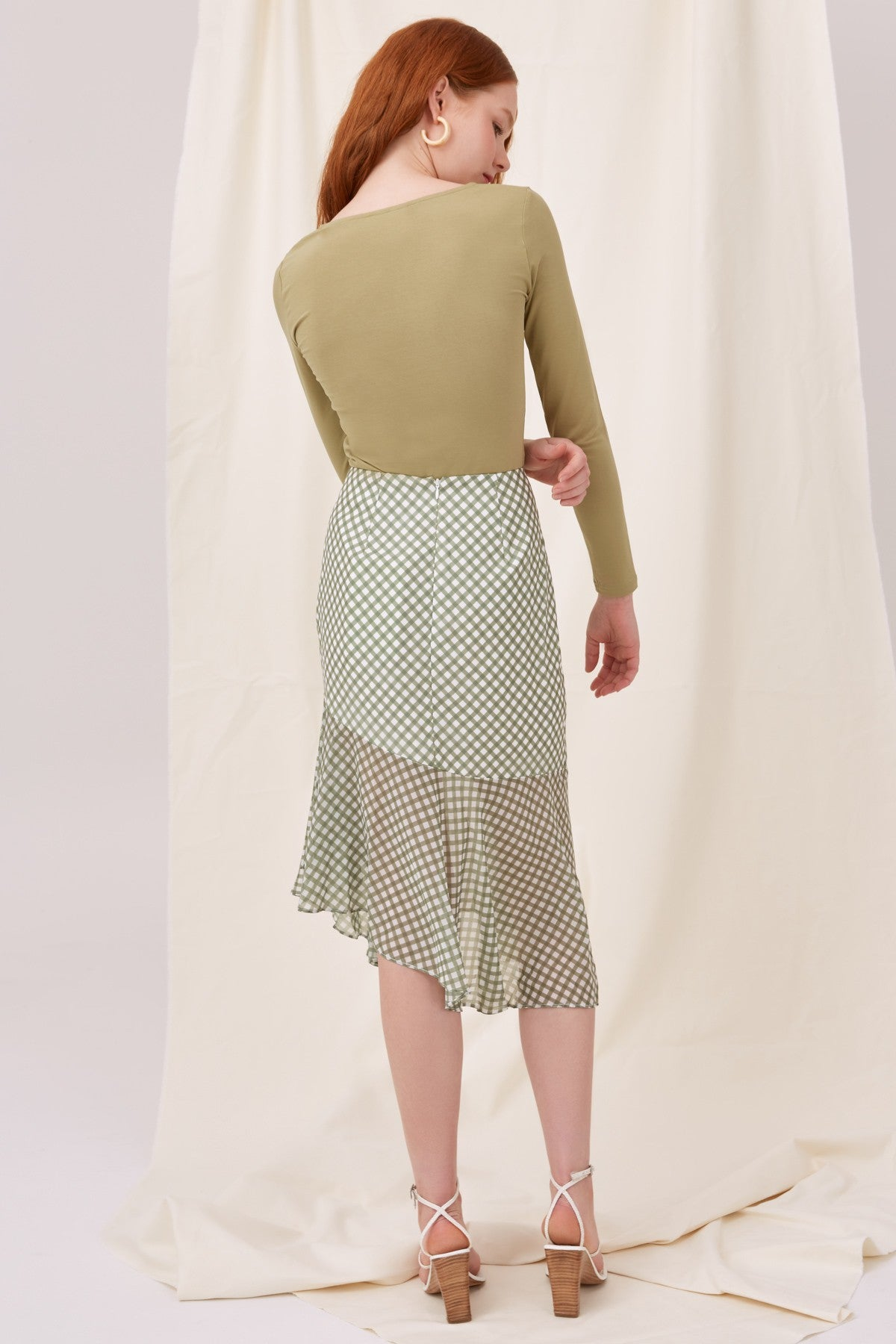 INFOLDING SKIRT khaki check