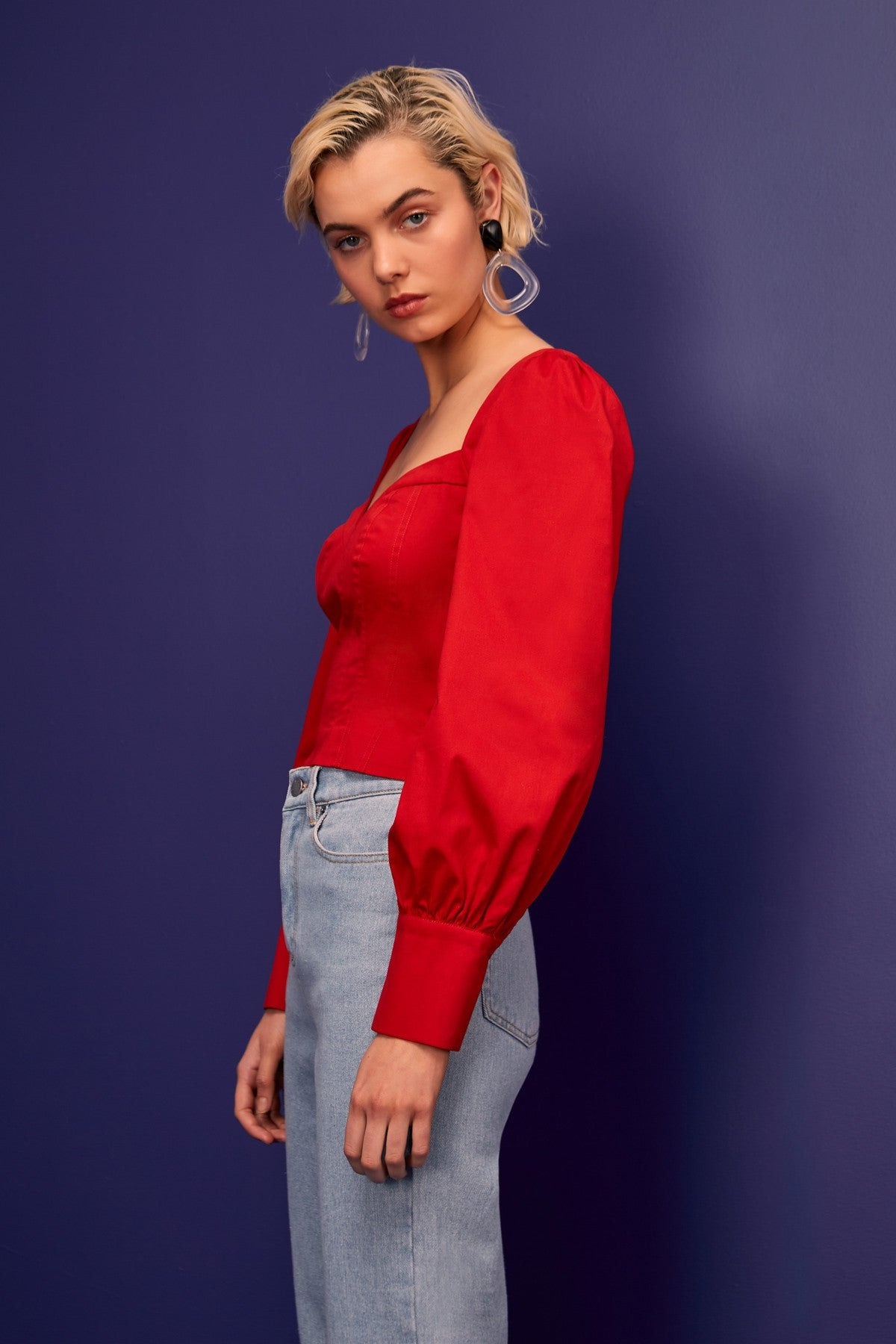 SILHOUETTE LONG SLEEVE TOP red