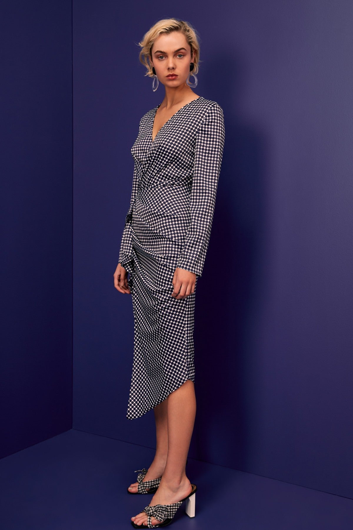 JAGGED LONG SLEEVE MIDI DRESS navy spot