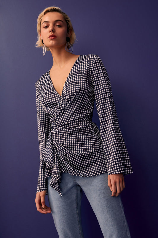 JAGGED LONG SLEEVE TOP navy spot