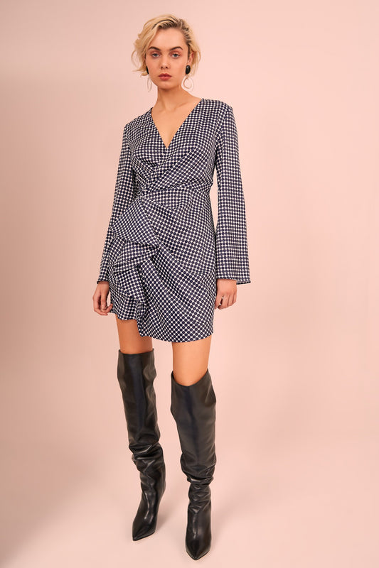 JAGGED LONG SLEEVE MINI DRESS navy spot