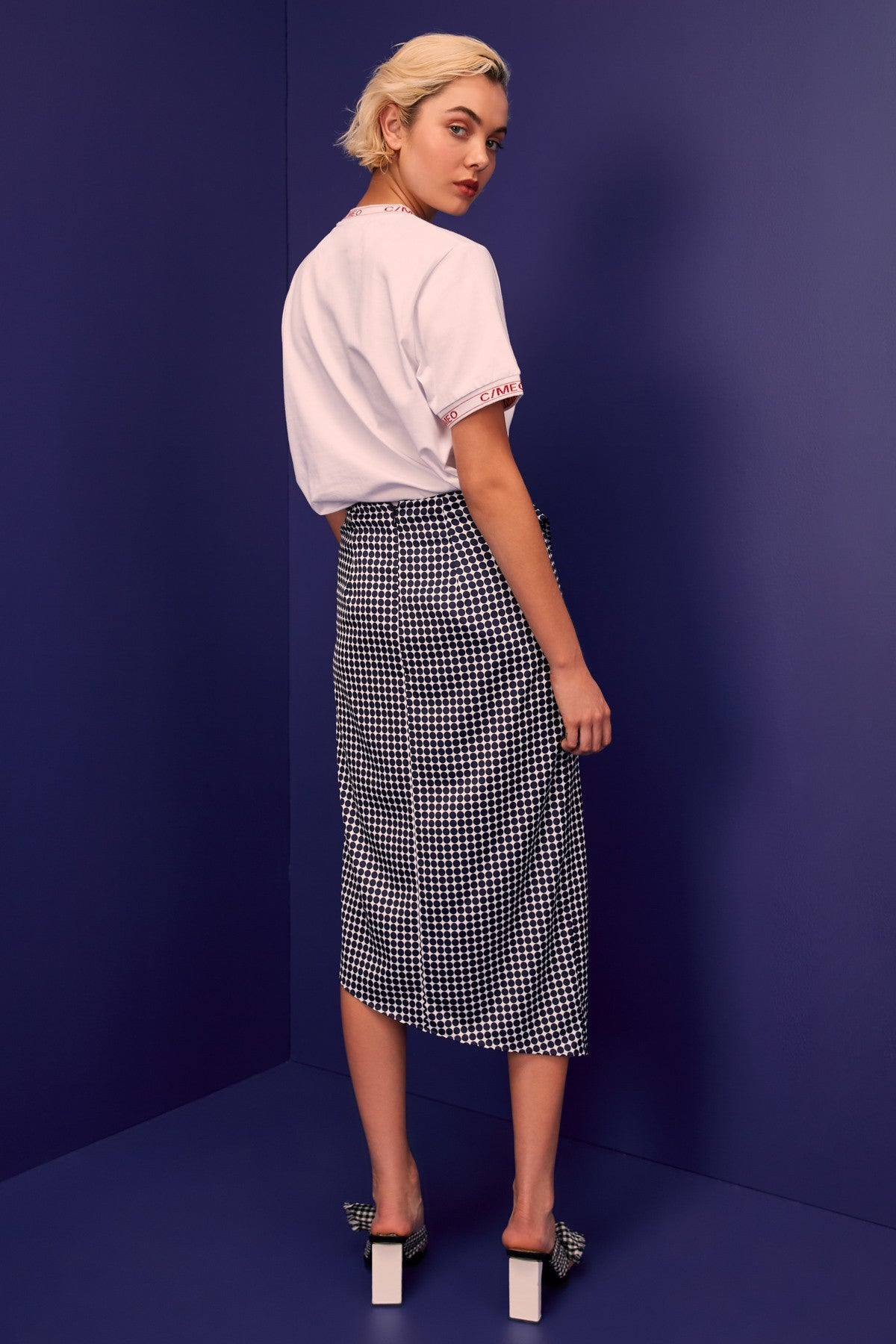 JAGGED SKIRT navy spot