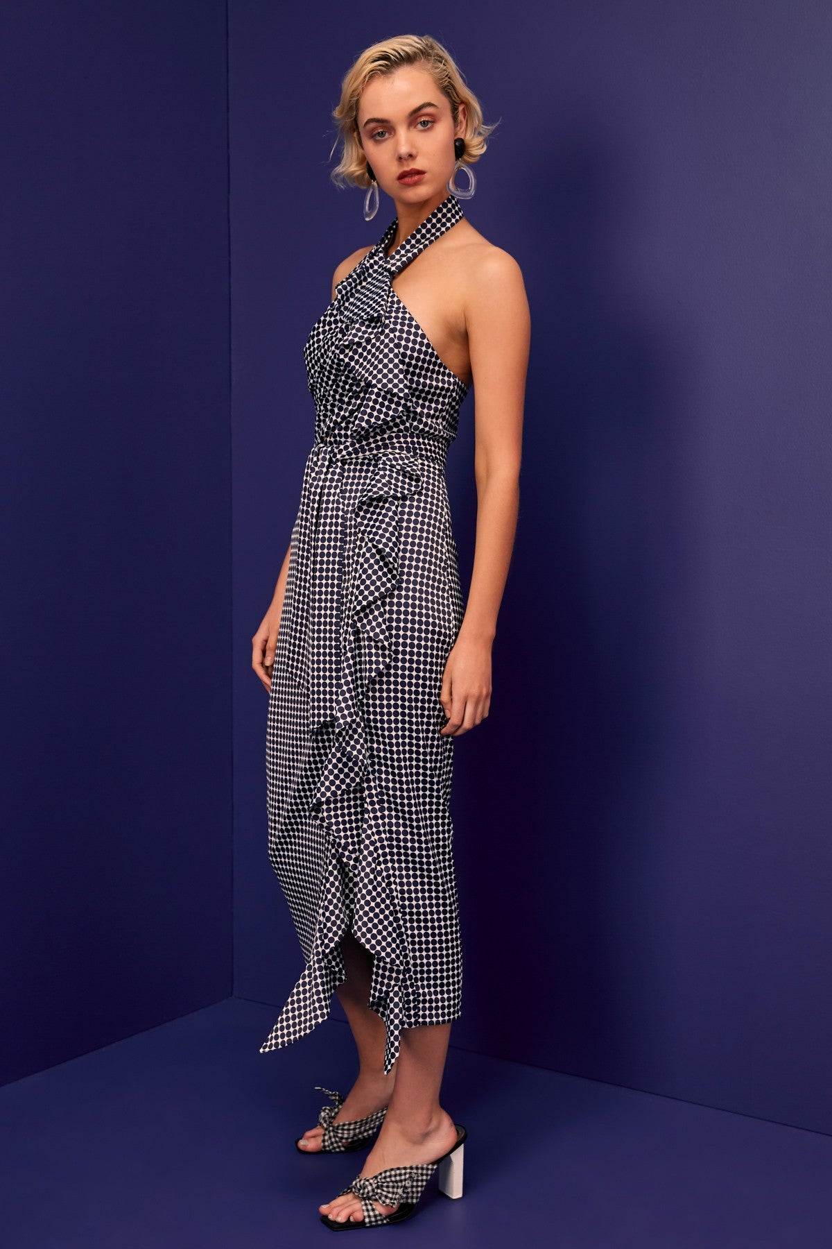 JAGGED SHORT SLEEVE MIDI DRESS navy spot