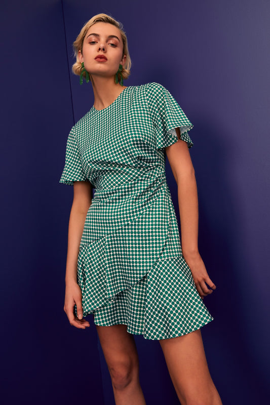 JAGGED SHORT SLEEVE MINI DRESS ivy spot