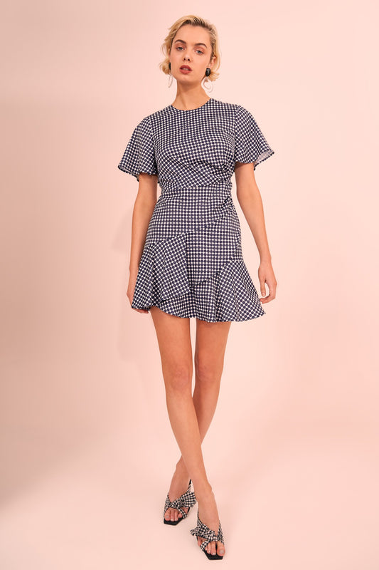 JAGGED SHORT SLEEVE MINI DRESS navy spot