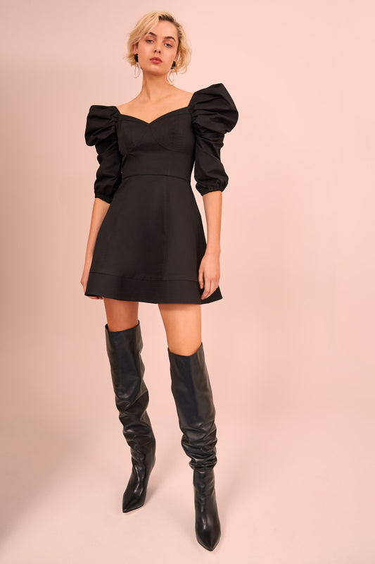 SILHOUETTE LONG SLEEVE MINI DRESS black