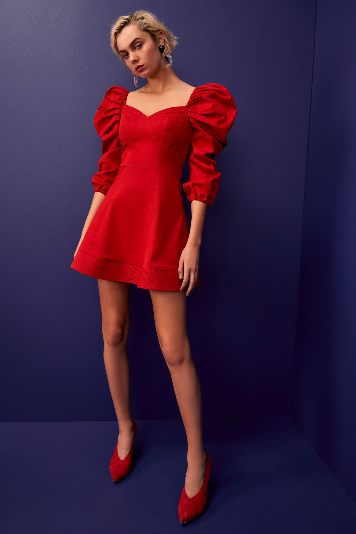 SILHOUETTE LONG SLEEVE MINI DRESS red