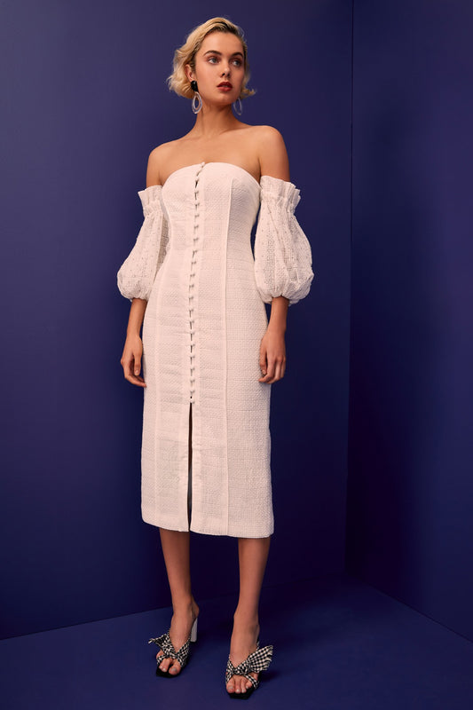 THINK ABOUT ME MIDI DRESS ivory