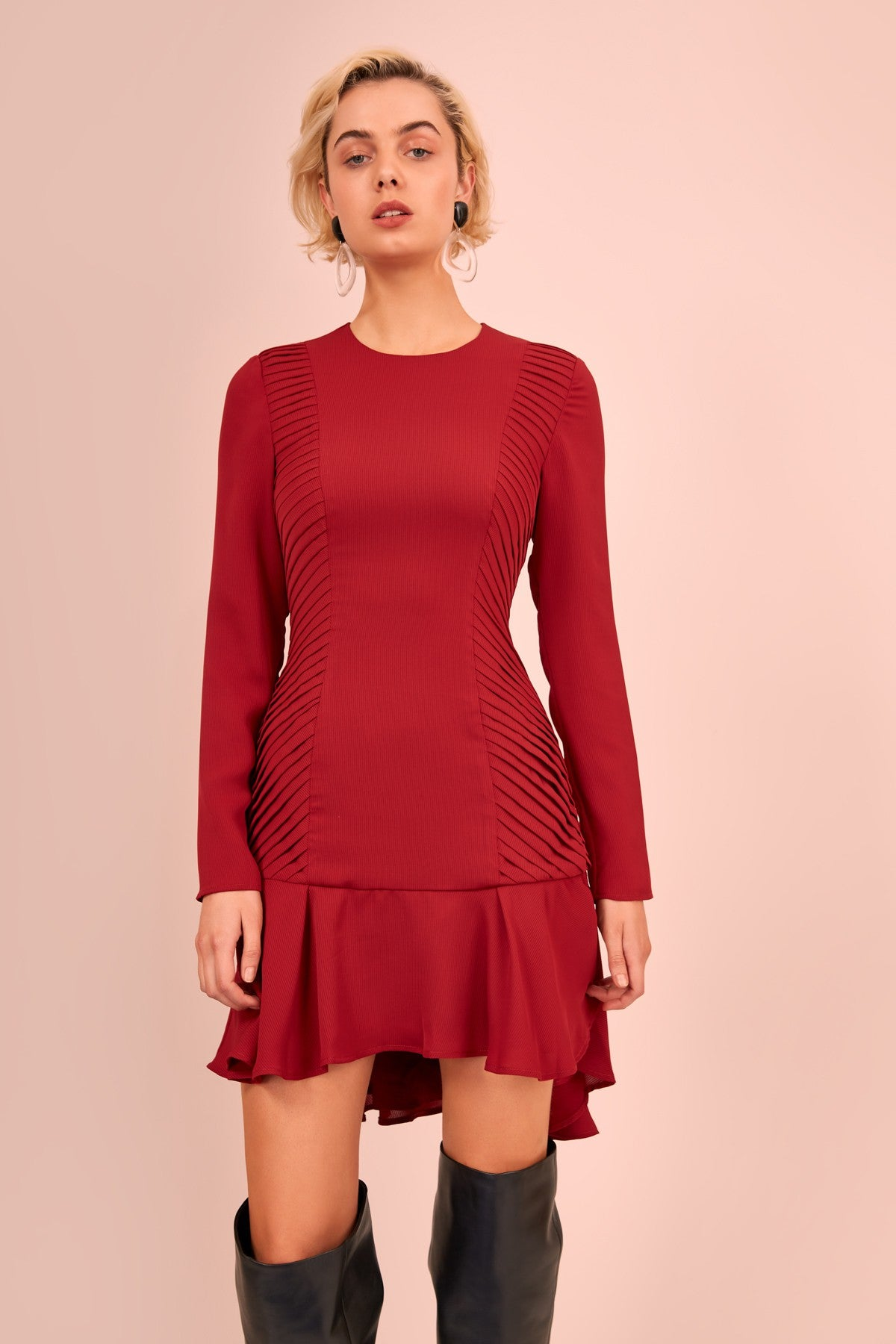 VISCERAL LONG SLEEVE MINI DRESS berry