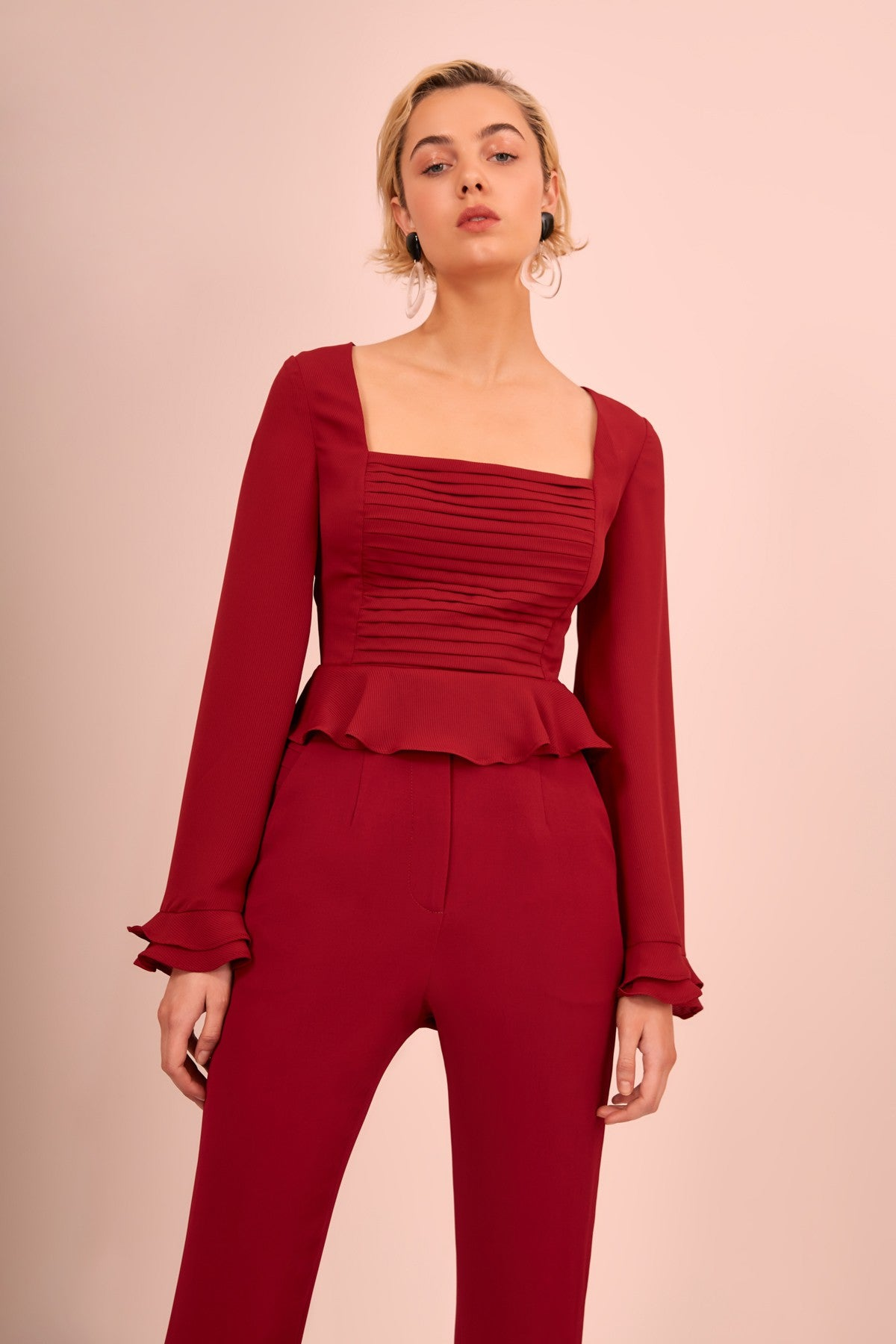 VISCERAL LONG SLEEVE TOP berry