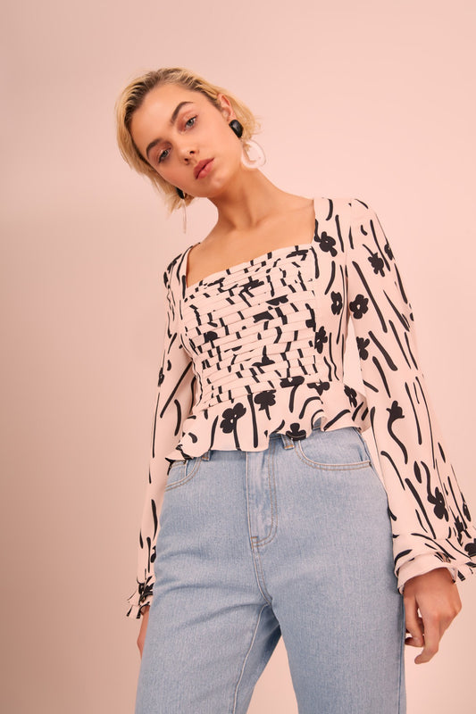 VISCERAL LONG SLEEVE TOP cream floral
