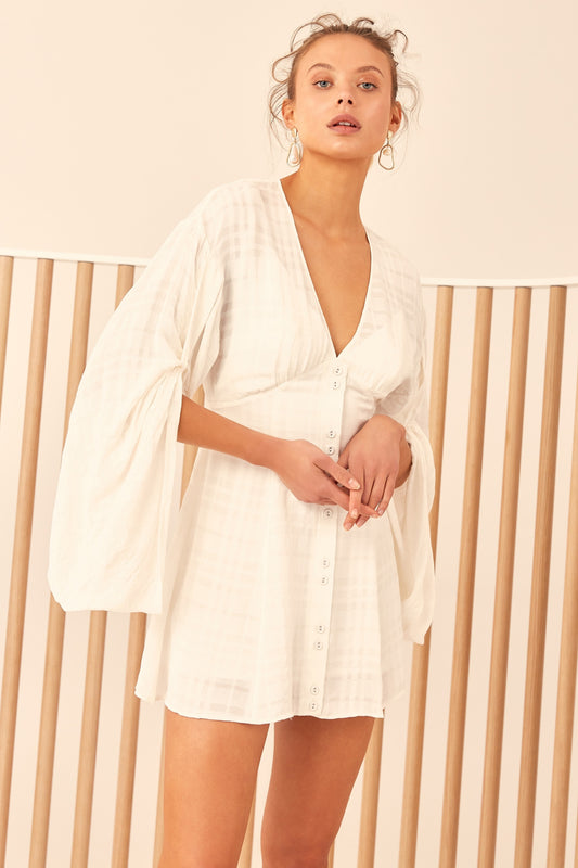 HEART BREAKER SHORT SLEEVE DRESS ivory