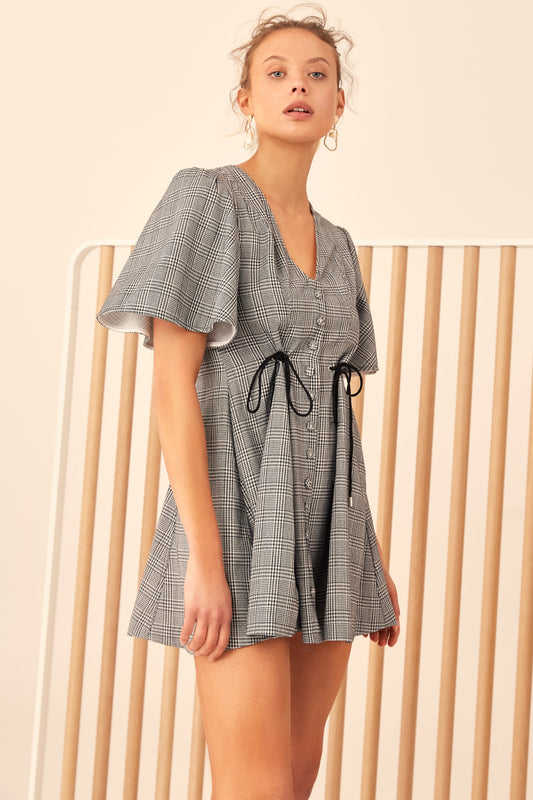 HOPES UP SHORT SLEEVE DRESS black check