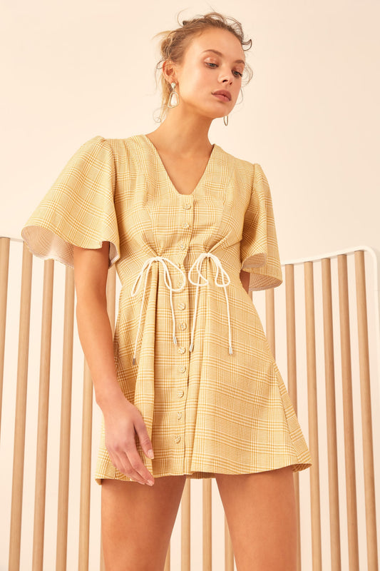 HOPES UP SHORT SLEEVE DRESS marigold check