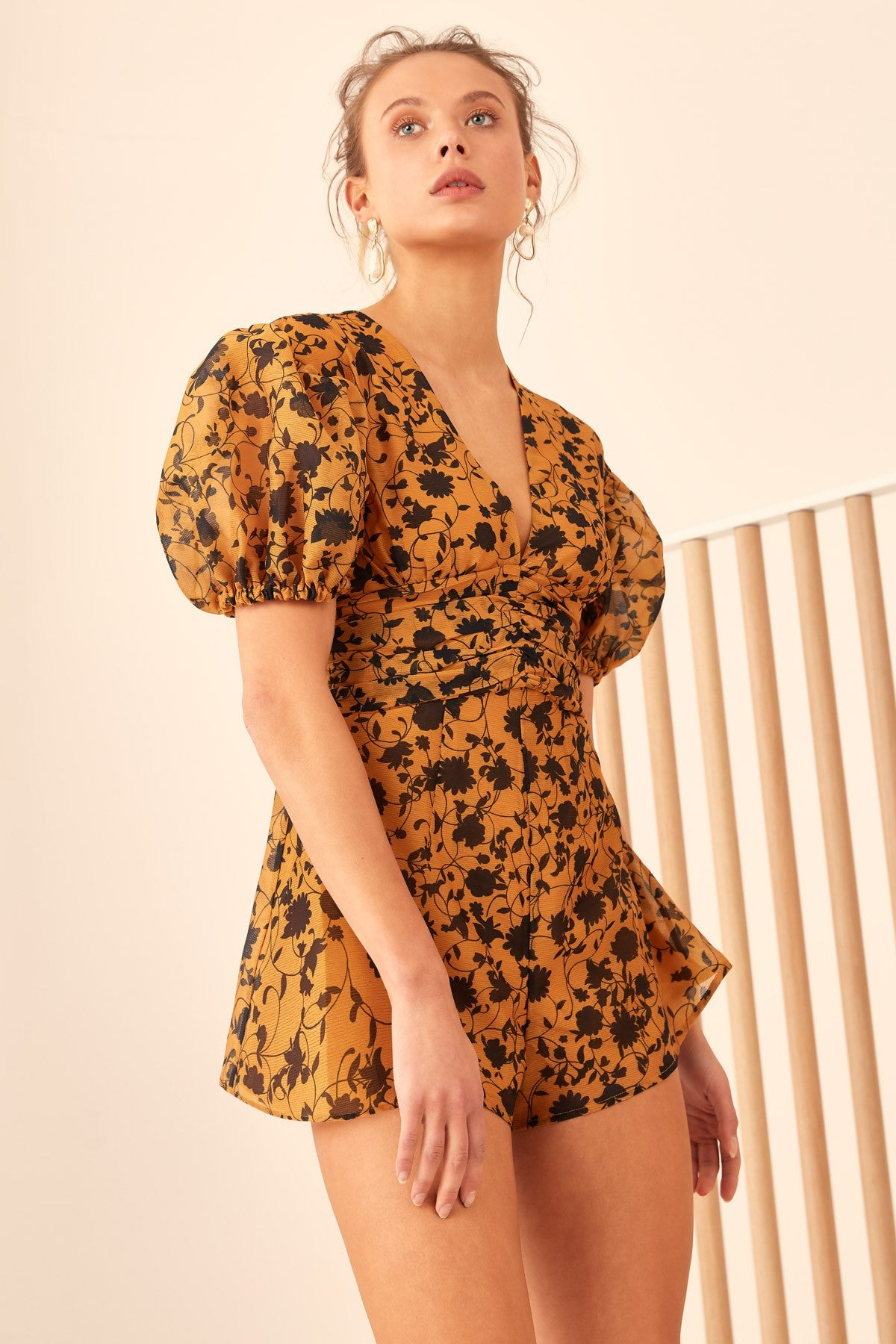 LOVE HATE PLAYSUIT marigold floral