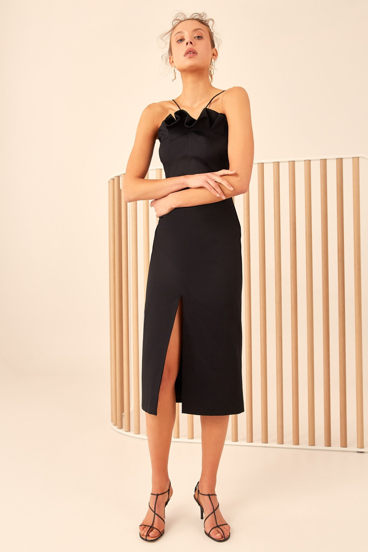 ONLY WITH YOU MIDI DRESS black
