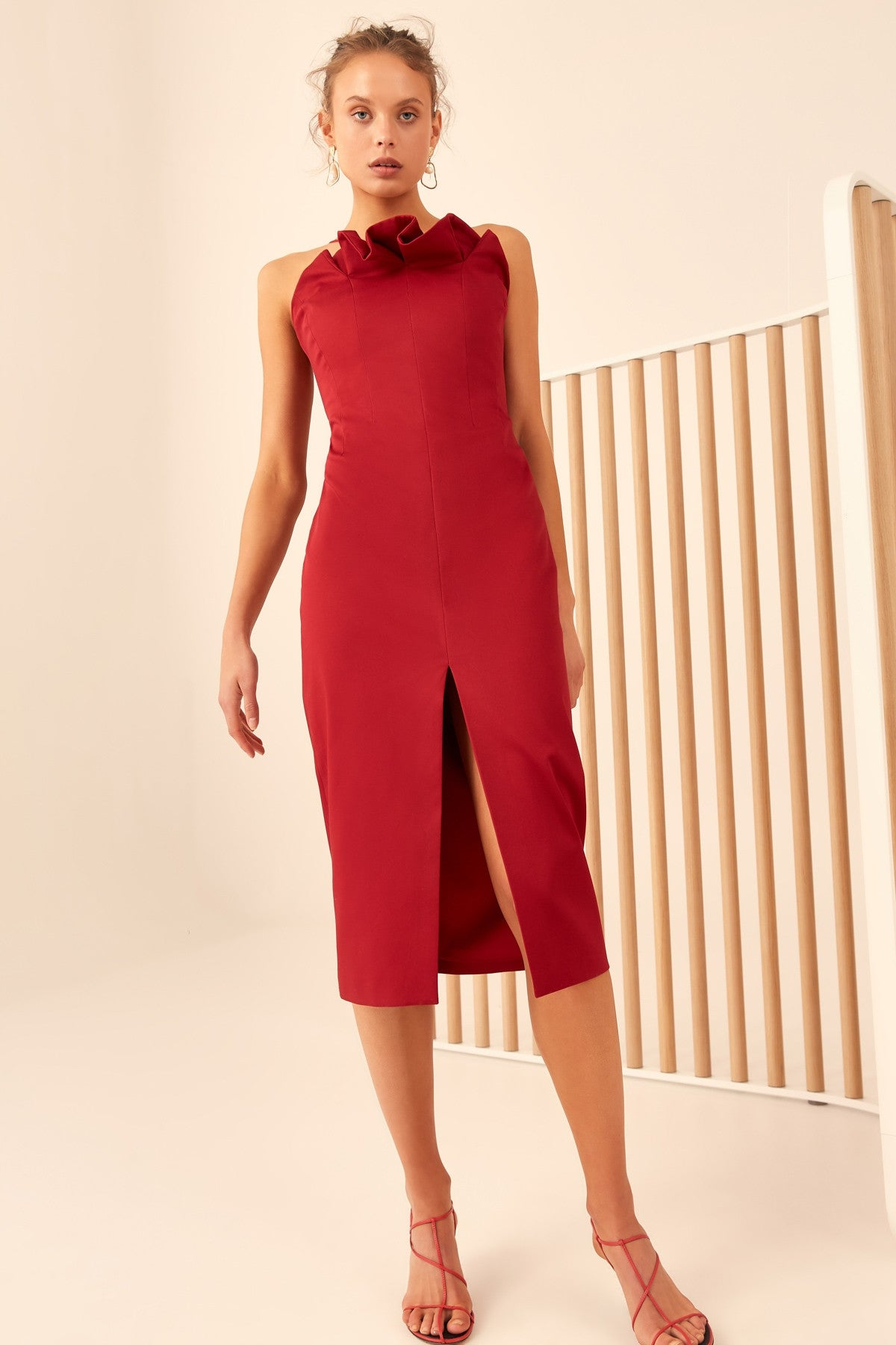 ONLY WITH YOU MIDI DRESS cherry